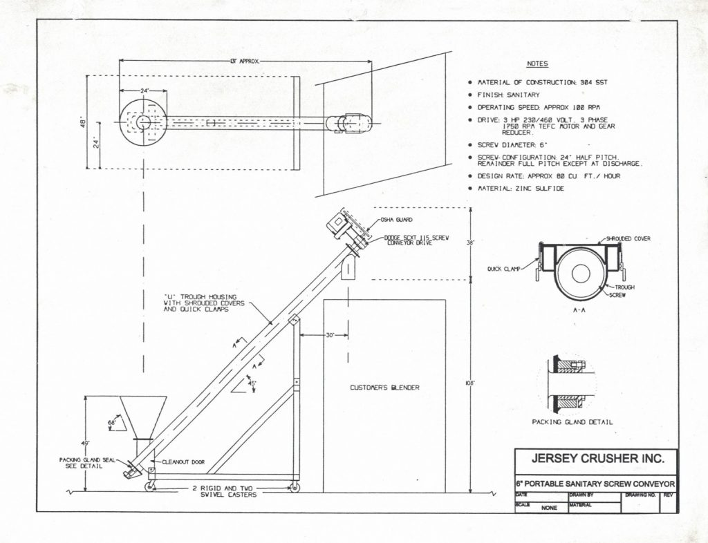 Portable sanitary screw conveyor drawing
